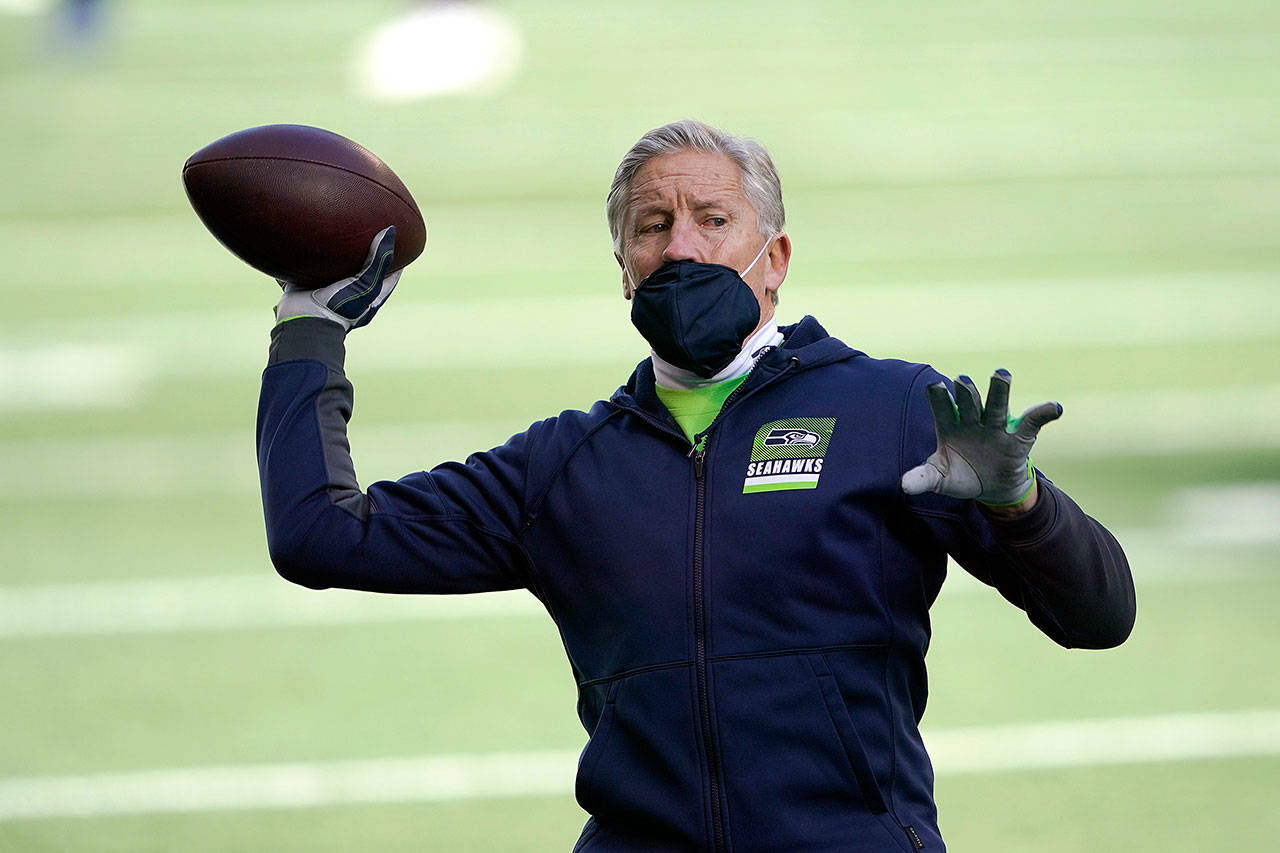 Seahawks head coach Pete Carroll has a 112-63-1 record in his 11 years in Seattle. ( Ted S. Warren / Associated Press)