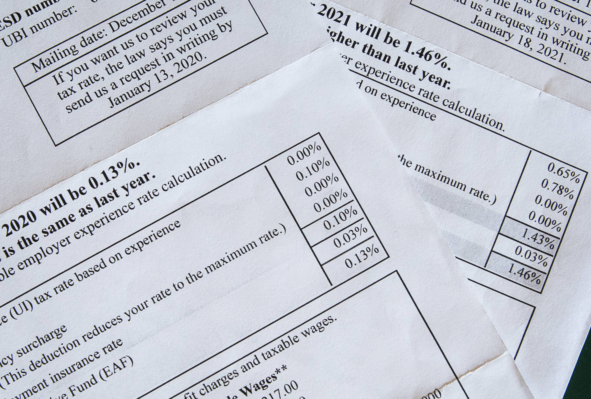 Statements from 2020 and 2021 showing a 1,000% increase in Brian Copple's unemployment insurance taxes. (Olivia Vanni / The Herald)
