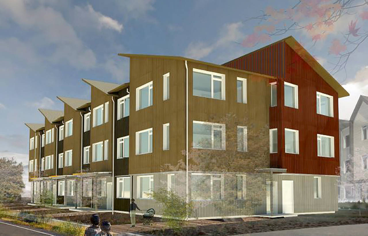 A rendering of new apartments at Twin Peaks Landing in Marysville. (Dykeman Architects)