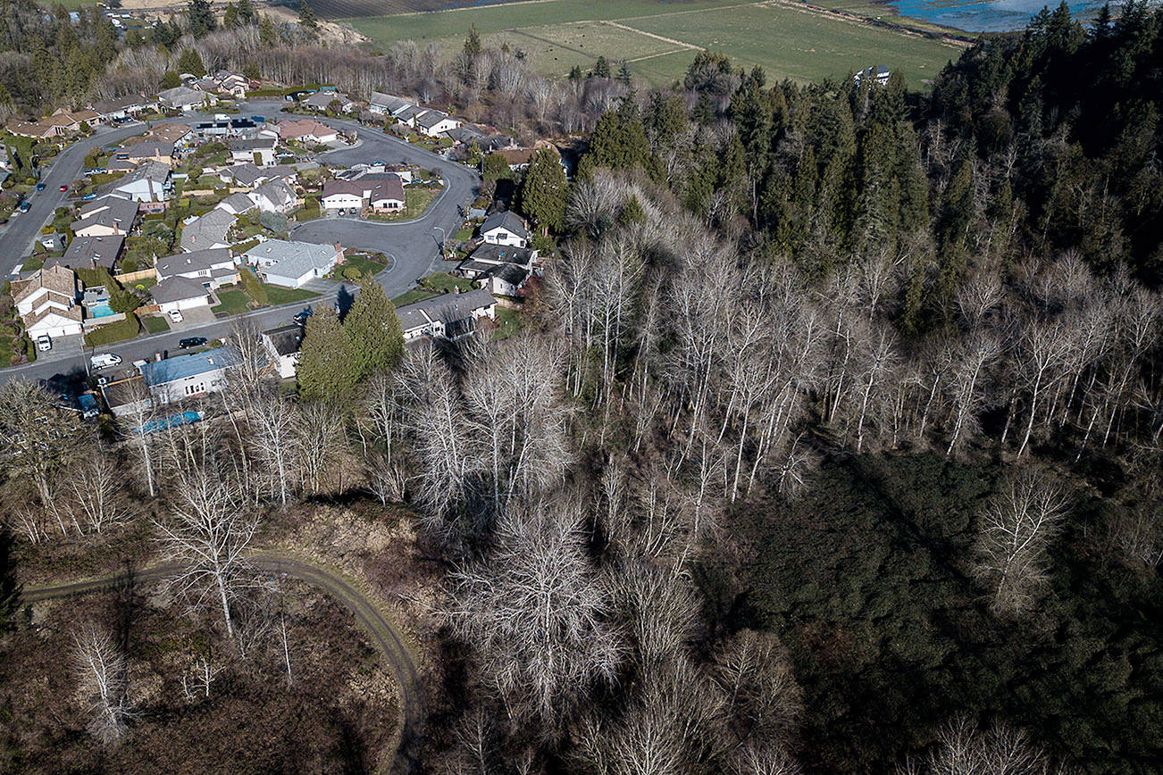 Go East Corp. Landfill next The Point subdivision in Silver Lake on Tuesday, Feb. 9, 2021 in Everett, Wa. (Olivia Vanni / The Herald)