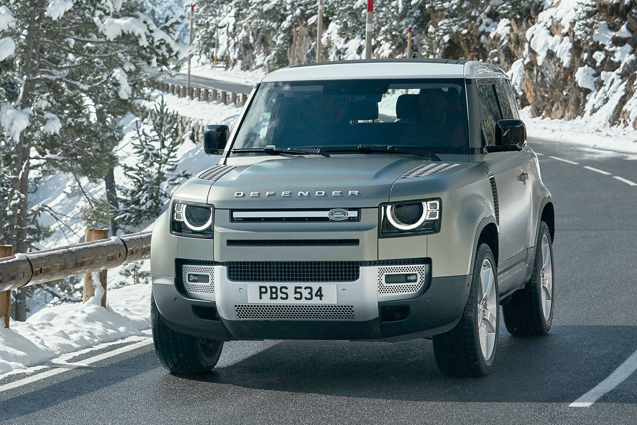 The 2020 Land Rover Defender is available in two-door and four-door versions. The two-door 90 model is shown here.  (Land Rover) 20210208