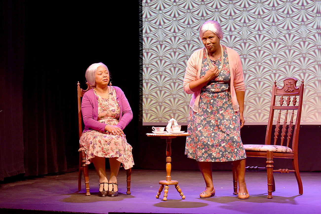Germaine Kornegay, left, and Allenda Jenkins star in Whidbey Playhouse's virtual production of 'Having our Say: The Delany sisters' first 100 years' available to view online on Feb. 26-27. Photo by Emily Gilbert/Whidbey News-Times