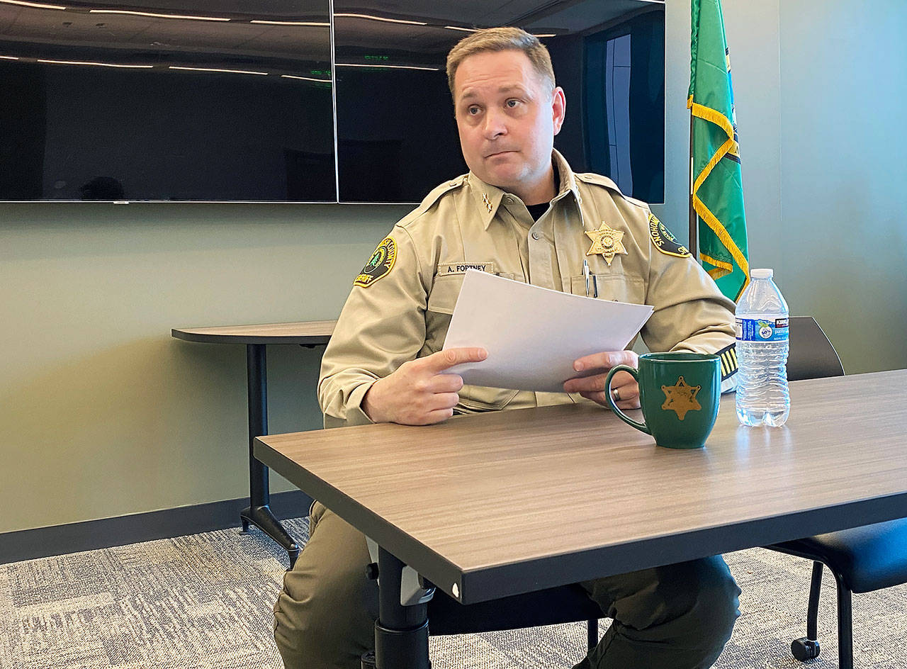 Snohomish County Sheriff Adam Fortney during an interview at the sheriff's department June 17, 2020. (Sue Misao / Herald file)