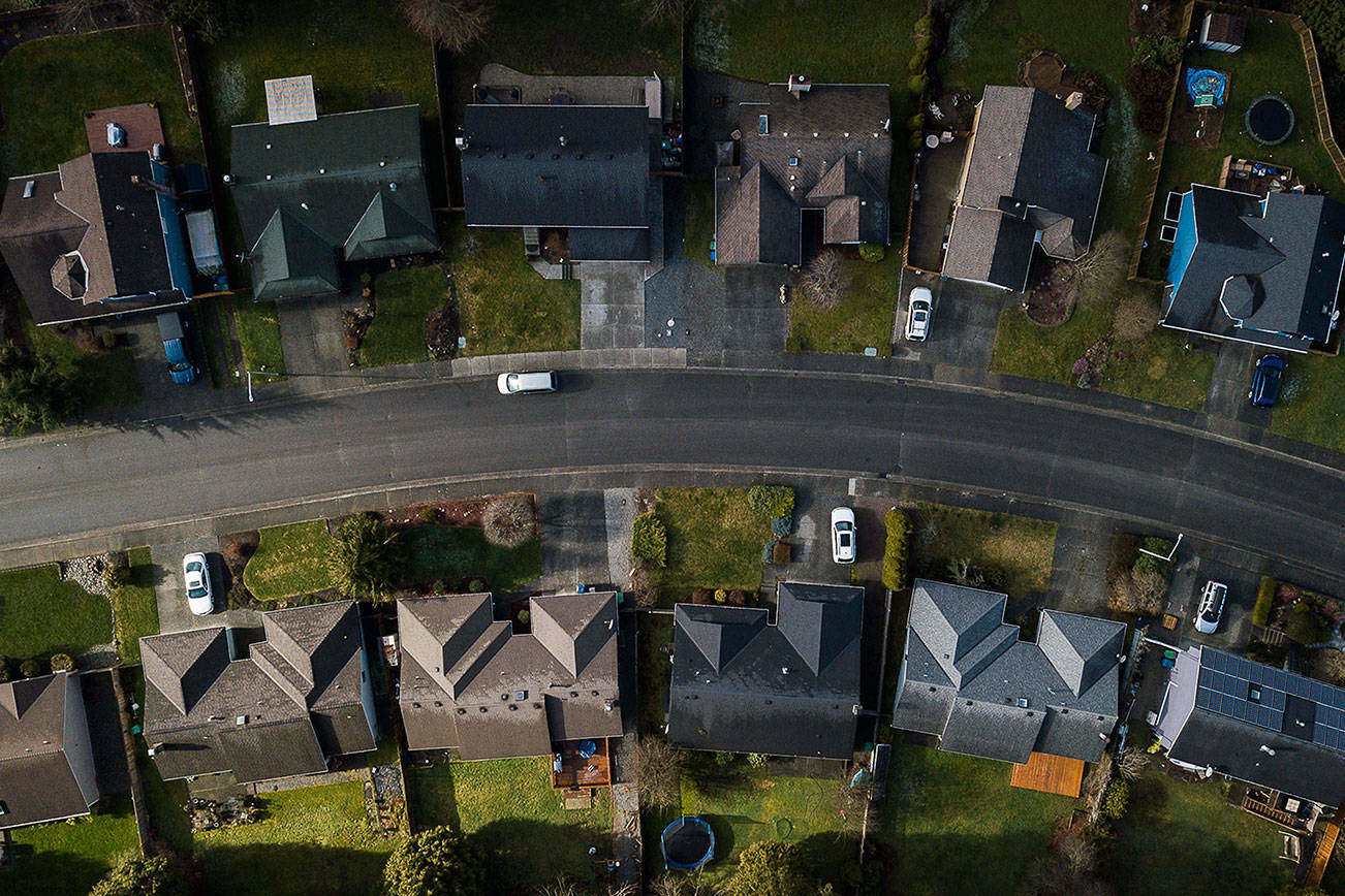 Homes along 55th Avenue SE in the Silver Firs neighborhood on Wednesday, Feb. 24, 2021 in Everett, Wa. (Olivia Vanni / The Herald)