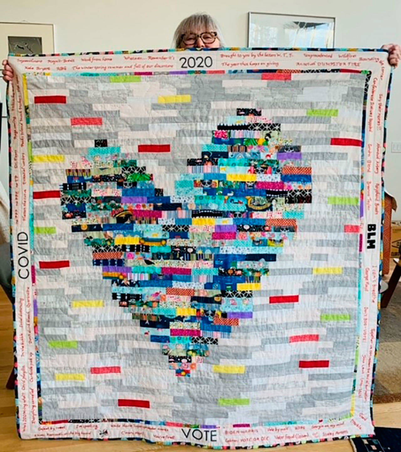Judy Walsh of Maine created a quilt from the leftover fragments of fabric she had from making masks. (Courtesy of Judy Walsh)