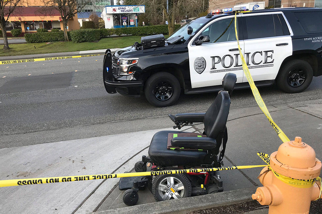 A driver struck a woman in a motorized wheelchair Saturday in Lynnwood. (Lynnwood police)