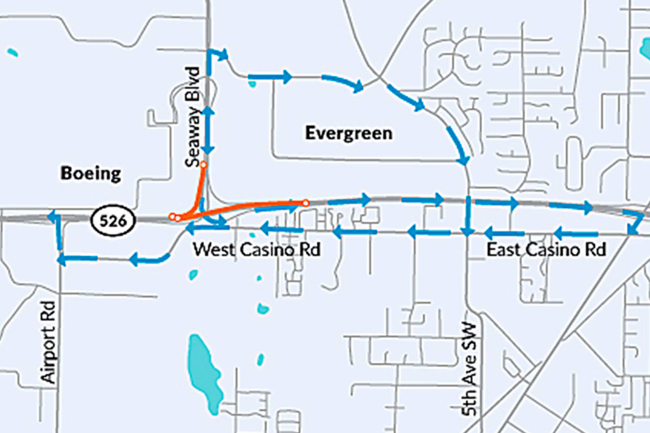 Contractor crews will close both directions of Highway 526 between Airport Road and Seaway Boulevard overnight starting Monday night until Wednesday morning. (WSDOT)