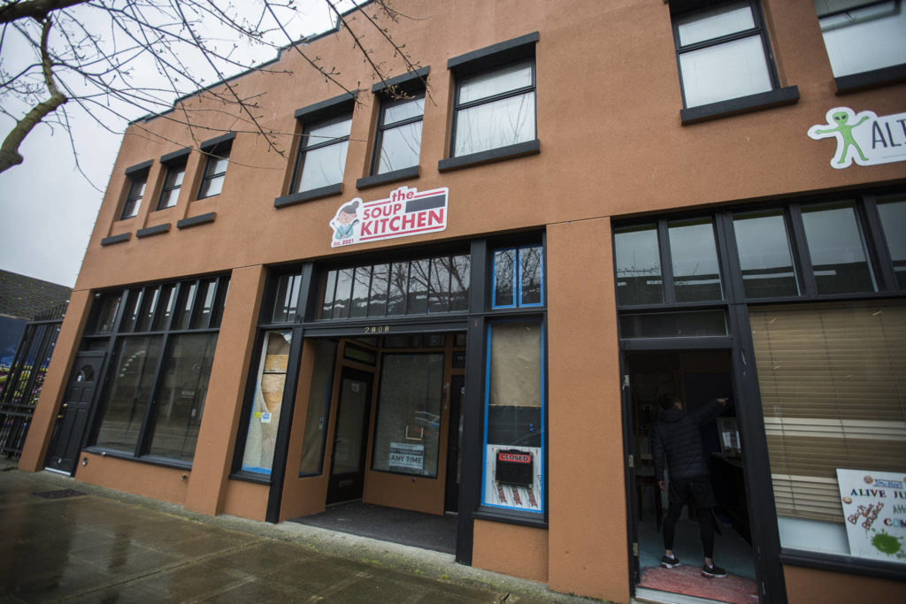 The soon-to-open No Soup For You! kitchen and Alive Juice Bar on Wednesday in Everett. It still bore a sign of the original name, The Soup Nazi Kitchen. (Olivia Vanni / The Herald)