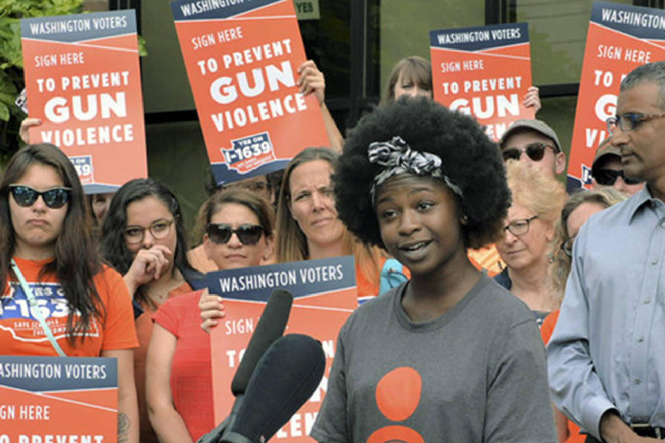 Activists rally at the I-1639 ballot drop even on July 6, 2018. Photo courtesy Washington Alliance for Gun Responsibility