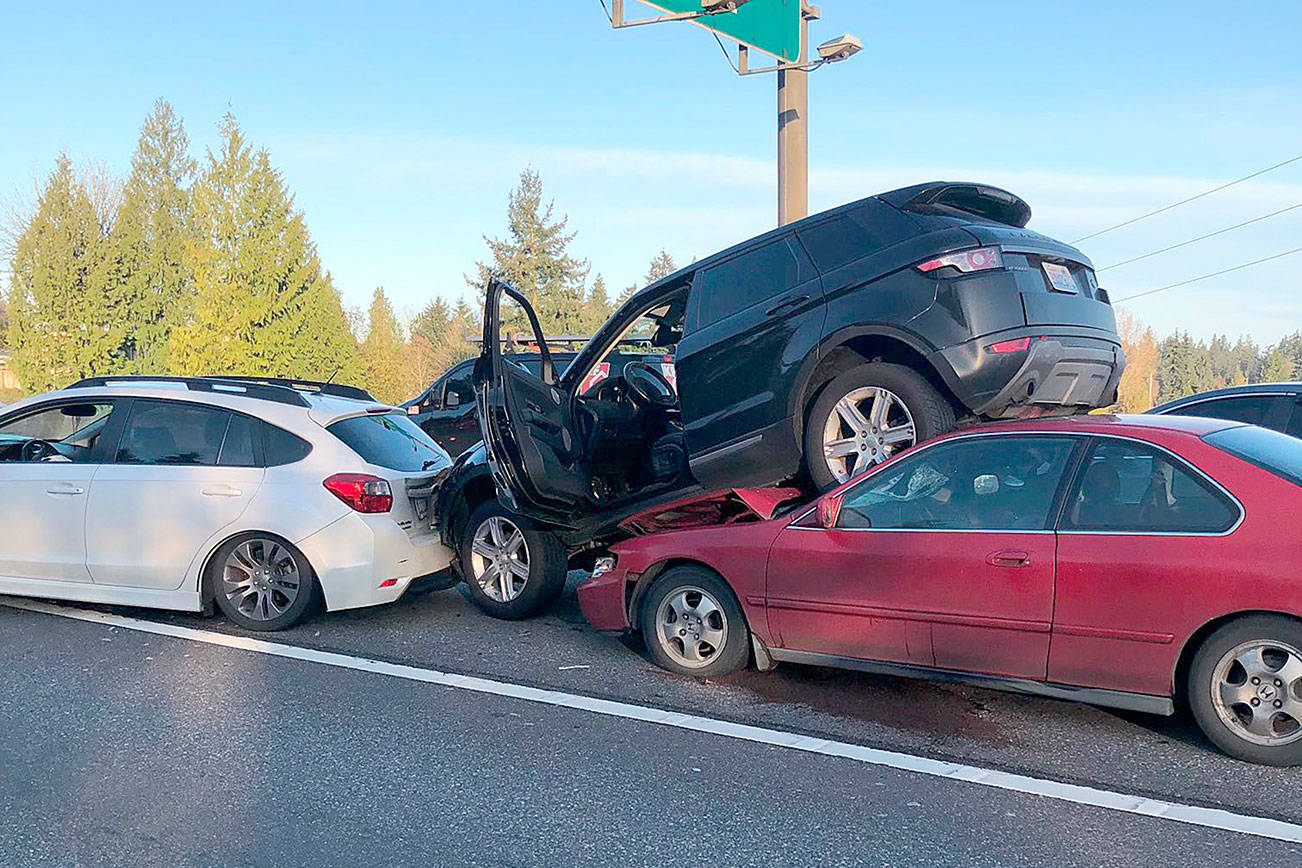 Traffic on southbound I-5 was backed up about four miles Monday morning after multiple vehicles collided near 212th Street SW in Mountlake Terrace. (Washington State Patrol)