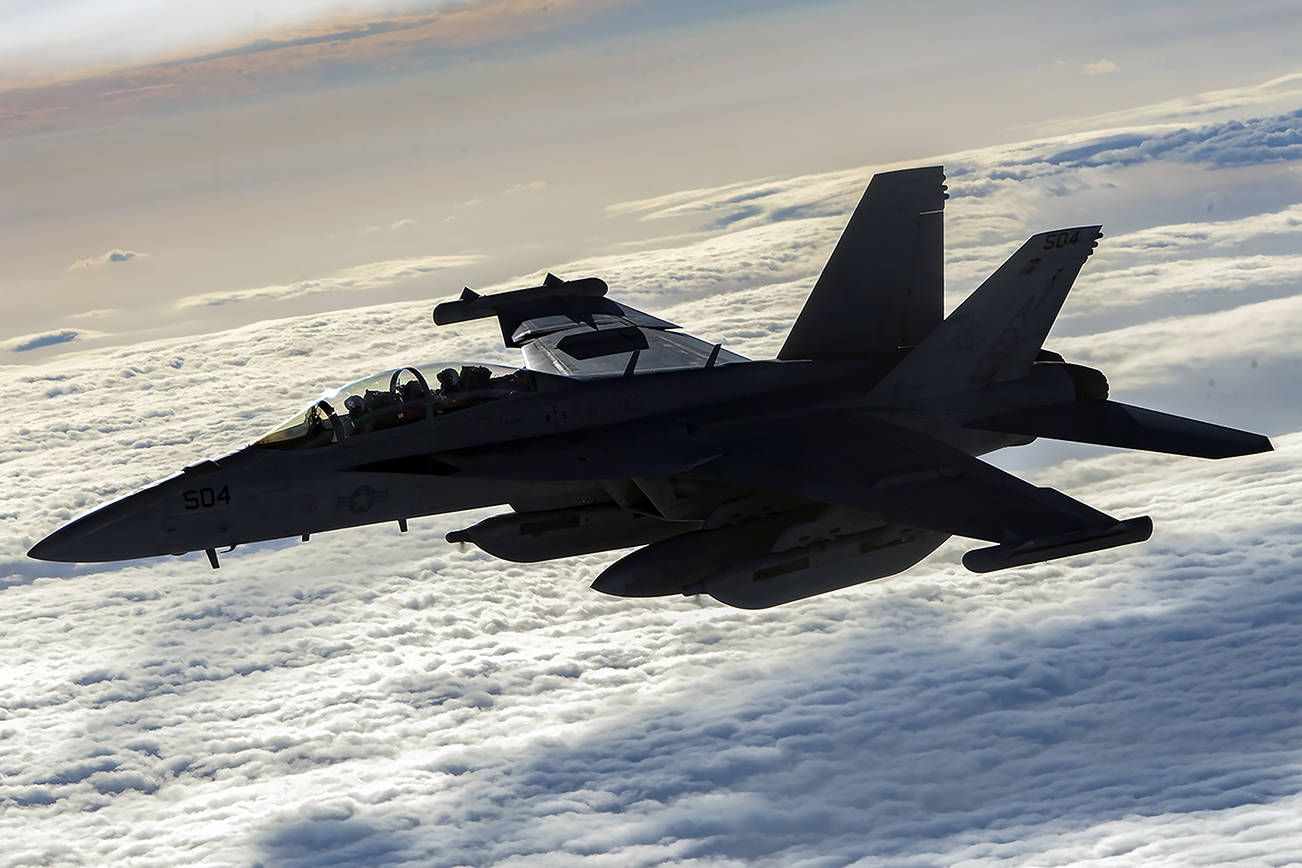 A U.S. Navy EA-18G Growler flies over Afghanistan, Jan. 23, 2020. The EA-18G has the capabilities to perform a wide range of enemy defense suppression missions with the latest electronic attack technology, jamming pods, and satellite communications. (U.S. Air Force photo by Staff Sgt. Matthew Lotz)