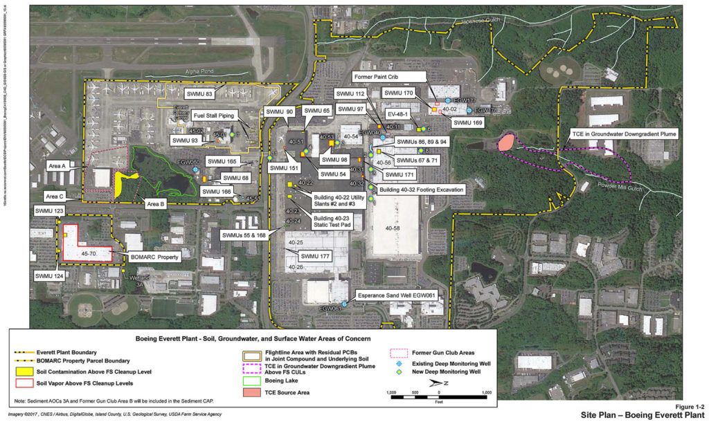 A map of chemical pollution points at Boeing's Everett site, from a trove of documents posted online by the state Department of Ecology.