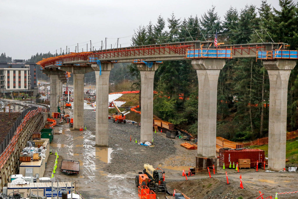 Construction of the Lynnwood Link light rail extension in Mountlake Terrace on Dec. 16. (Kevin Clark / Herald file)