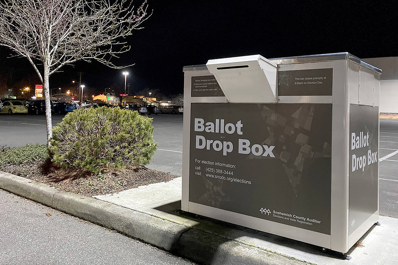 There are ballot drop boxes scattered around Snohomish County. This one is in the parking lot at the Everett Mall. (Sue Misao / Herald file)