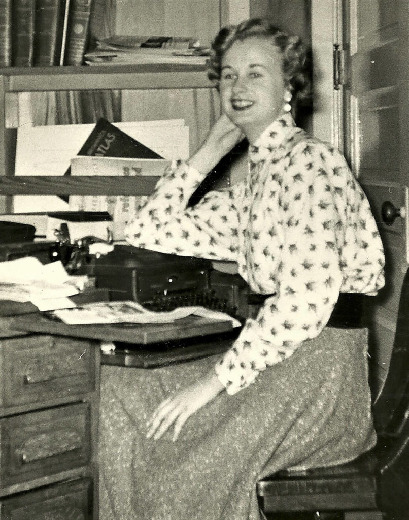 Jeanne Metzger, a longtime Herald editor, in the 1950s as The Everett Herald's society editor. She died Wednesday at age 89. (Herald archives)