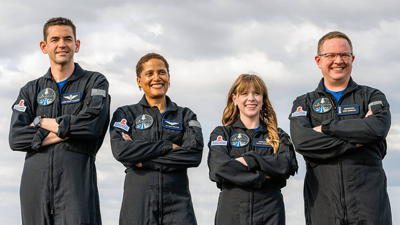 The crew of the Inspiration4 mission planned for later this year, from left, Jared Isaacman, Sian Proctor, Hayley Arceneaux, and Everett's Christopher Sembroski. (John Kraus/Inspiration4 photo)