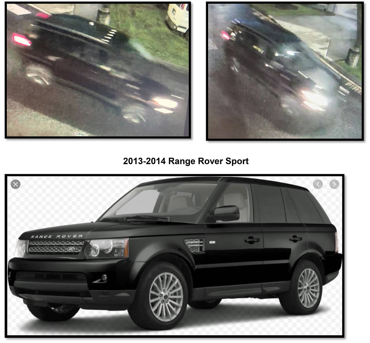 Arlington police believe a suspect fled in this Range Rover (top photos) after a deadly shooting outside a dialysis center Saturday on Smokey Point Boulevard. The SUV was caught on a security camera. The lower image shows the make and model of the vehicle. (Arlington Police Department)