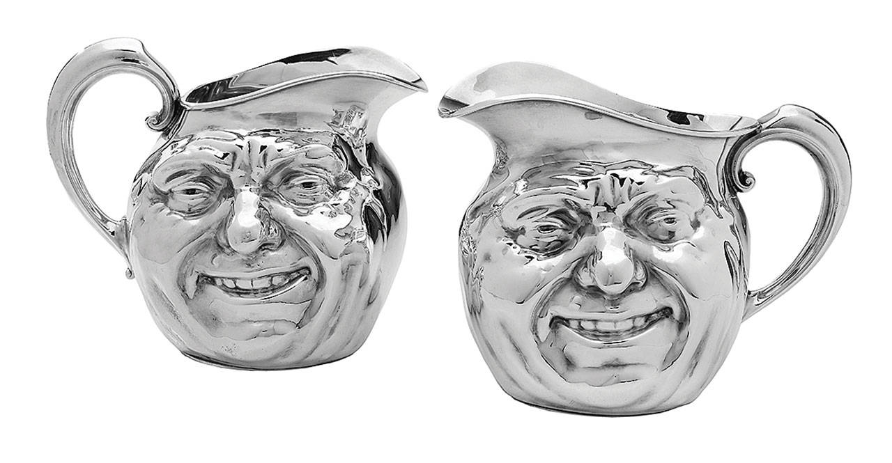 Sunny Jim is the name of these two silver-plated pitchers. They are about 6¼ inches high, and each holds about 56 ounces of liquid. The two sold together at New Orleans Auction Galleries for $4,750 in 2019 and could be worth even more now. (Cowles Syndicate Inc.)