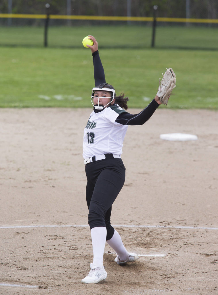 Jackson's Yanina Sherwood winds up for a pitch during a game against Marysville Pilchuck on April 28, 2021, in Mill Creek. Jackson beat Marysville Pilchuck 6-0. (Andy Bronson / The Herald)