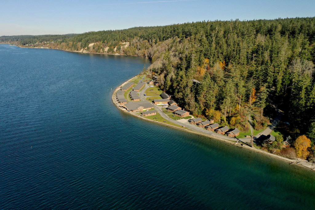Cama Beach State Park on Camano Island. The bluff where the cabins sit might have jutted up in the most recent southern Whidbey Island fault earthquake. (Chuck Taylor / The Herald)