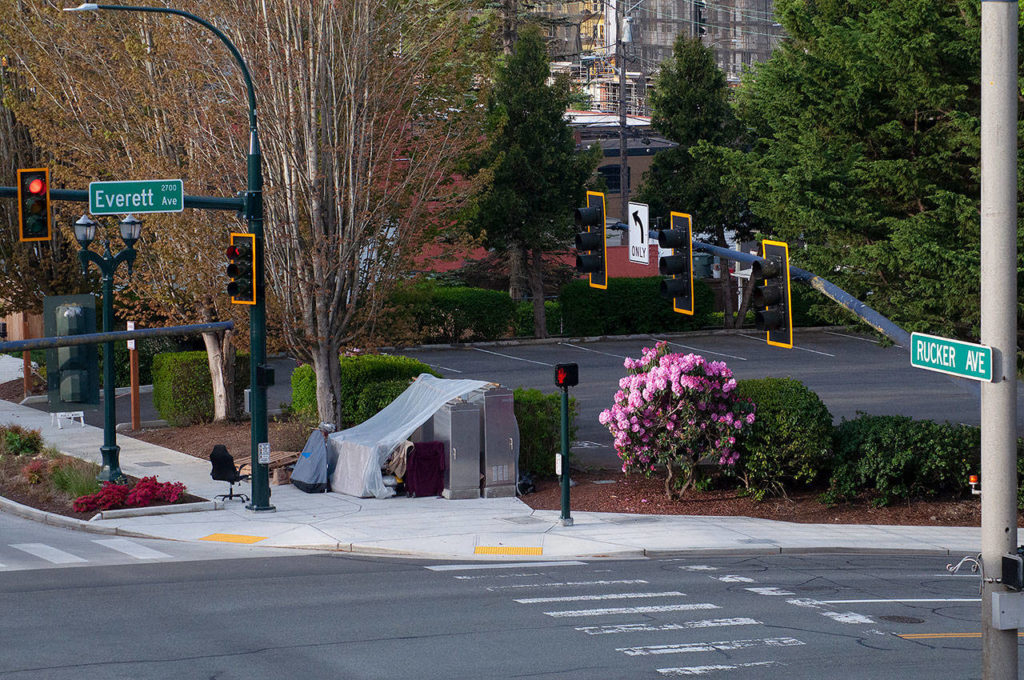 A single encampment recently went up on the corner of Everett and Rucker. (Sue Misao / The Herald)