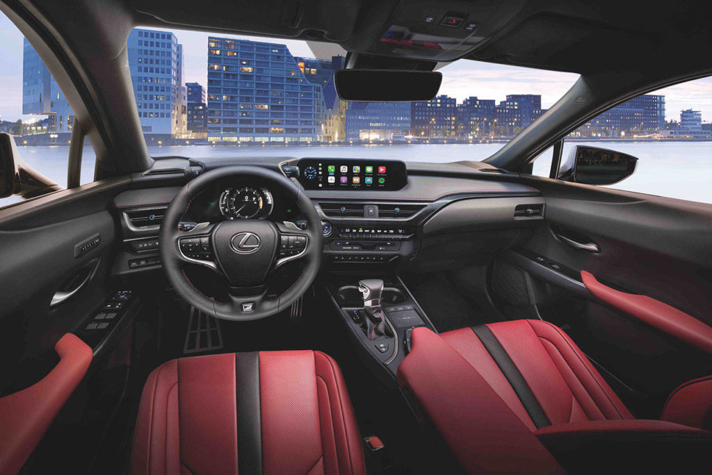 The 2021 Lexus UX F Sport models have bolstered seats, performance-style instrumentation and other interior upgrades. (Manufacturer photo)
