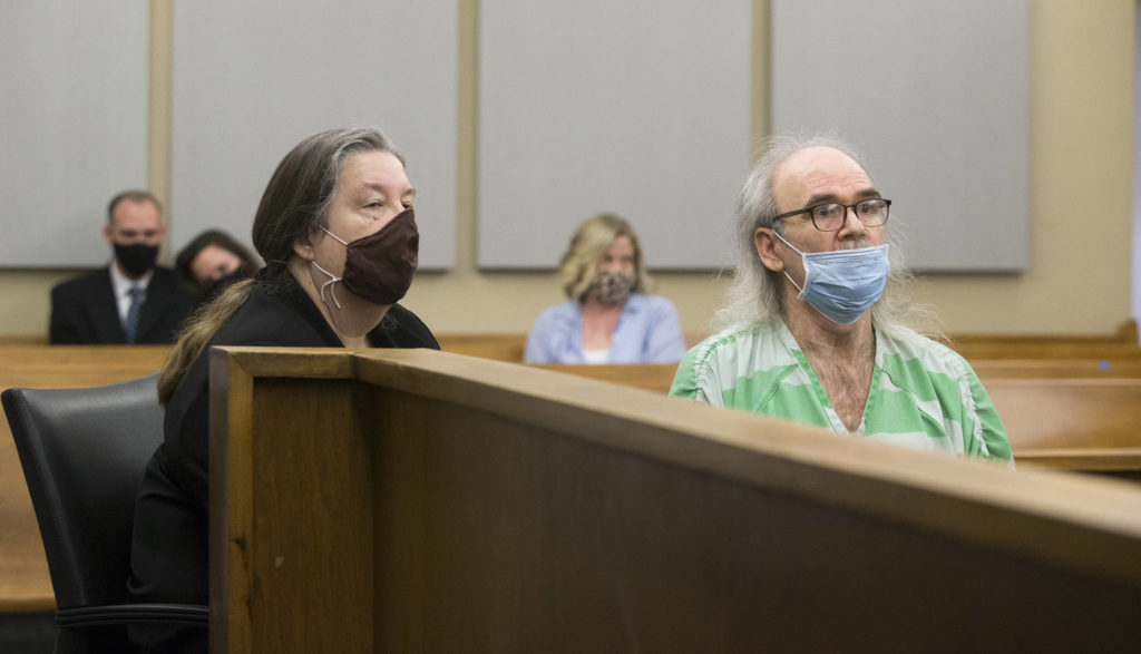 Jeffrey Phebus is sentenced in Snohomish County Superior Court in Everett on Monday to more than 31 years in prison for the murder of his wife, Rebecca Phebus. (Andy Bronson / The Herald)