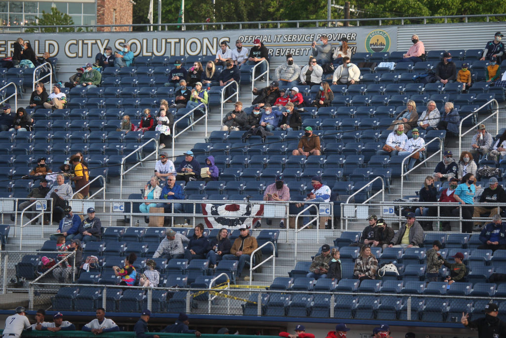 The Everett Aquasox beat the Tri-City Dust Devils in a home opening game at Funko Field on Tuesday, May 11, 2021 in Everett, Washington. (Andy Bronson / The Herald)