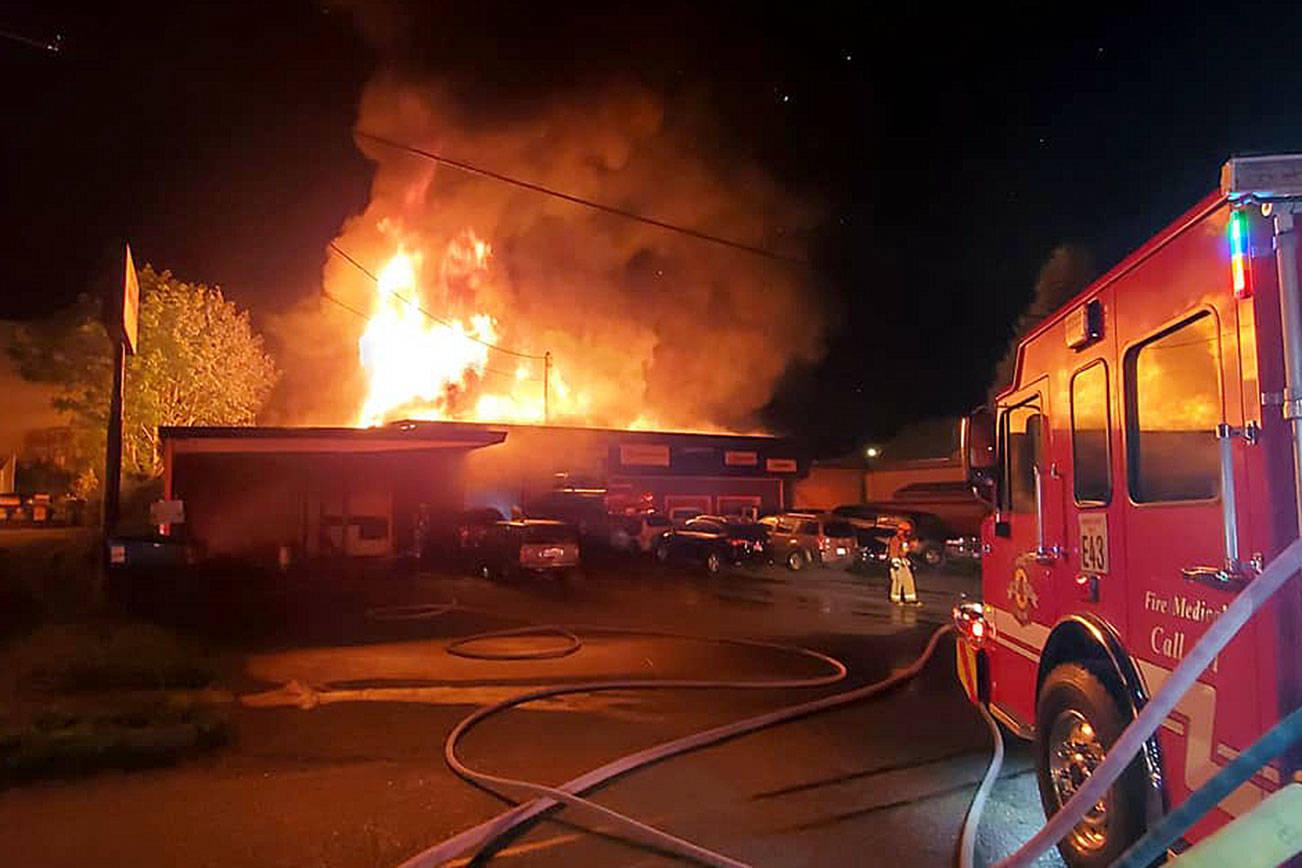 Eastside Tire and Muffler on Avenue D in Snohomish burns early Wednesday. (Snohomish County Fire District 4) 20210512