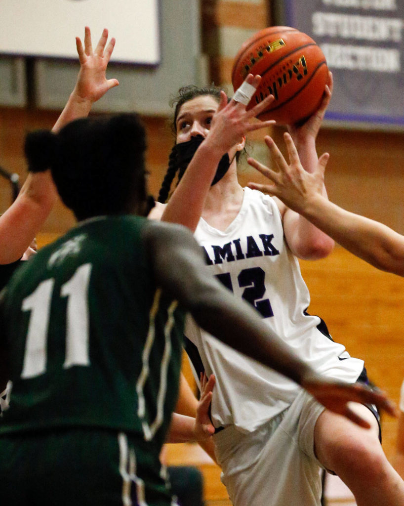 Kamiak's Tess Schornack attempts a shot during a game against Edmonds-Woodway on May 14, 2021, at Kamiak High School in Mukilteo. (Kevin Clark / The Herald)