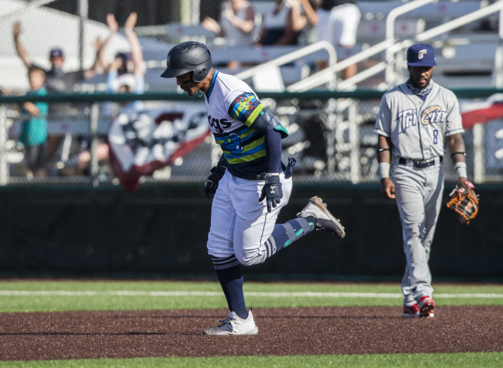AquaSox's Julio Rodriguez runs the bases after hitting his fifth home run in six games during the game against the Dust Devils on Sunday, May 16, 2021 in Everett, Wash.