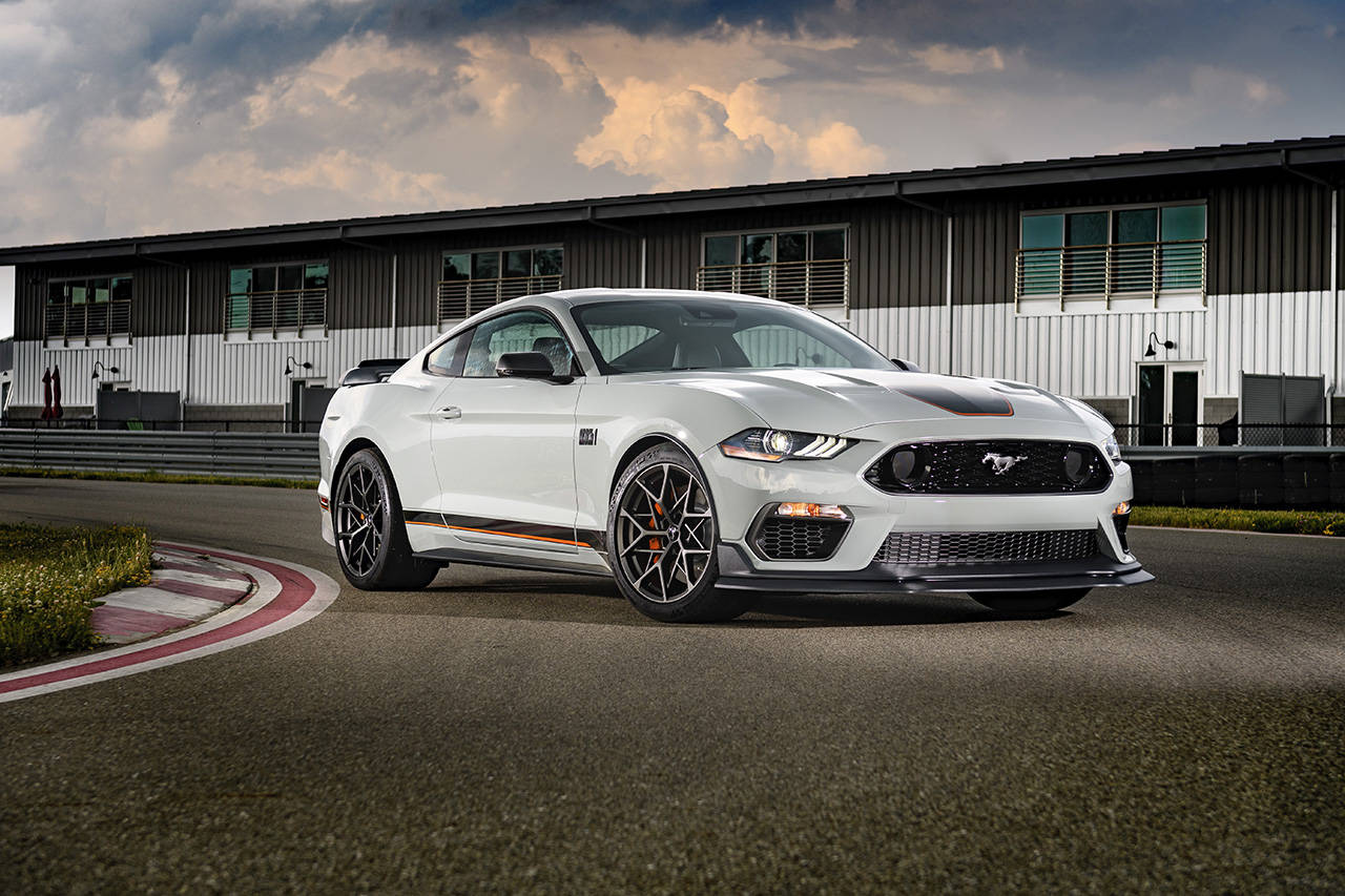The 2021 Ford Mustang Mach 1 has functional aerodynamic enhancements and competition-capable suspension upgrades. (Manufacturer photo)