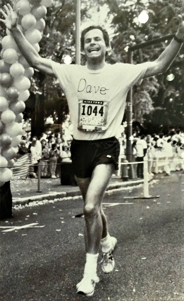 David Kurtz, before becoming a Snohomish County Superior Court judge, runs in an early 1990s marathon in Portland, Oregon. (Contributed photo)