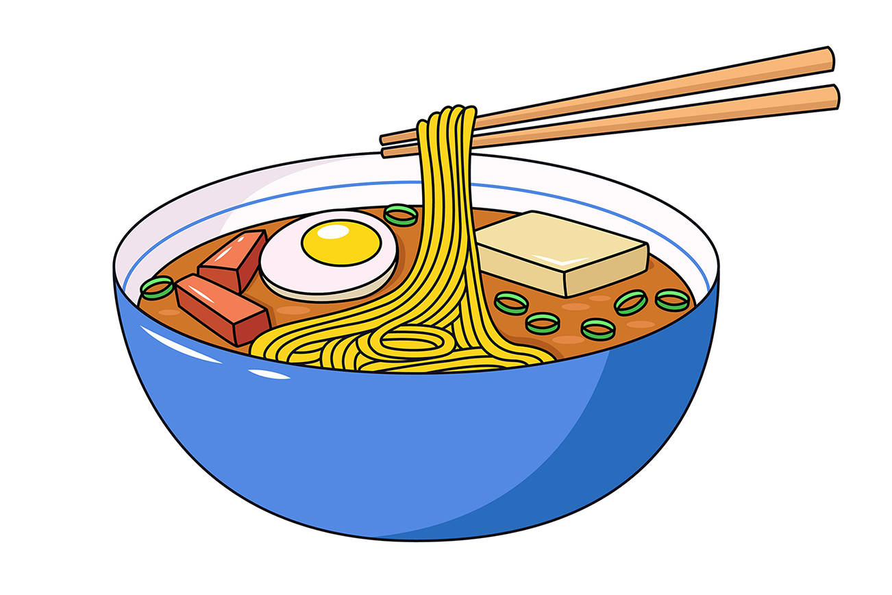 Ramen soup vector illustration. Cartoonish illustration of bowl of  traditional Japanese ramen soup with noodles, boiled egg, miso sauce, pork, soy tofu and onion. Japanese cuisine, Japan culture, healthy food concept.