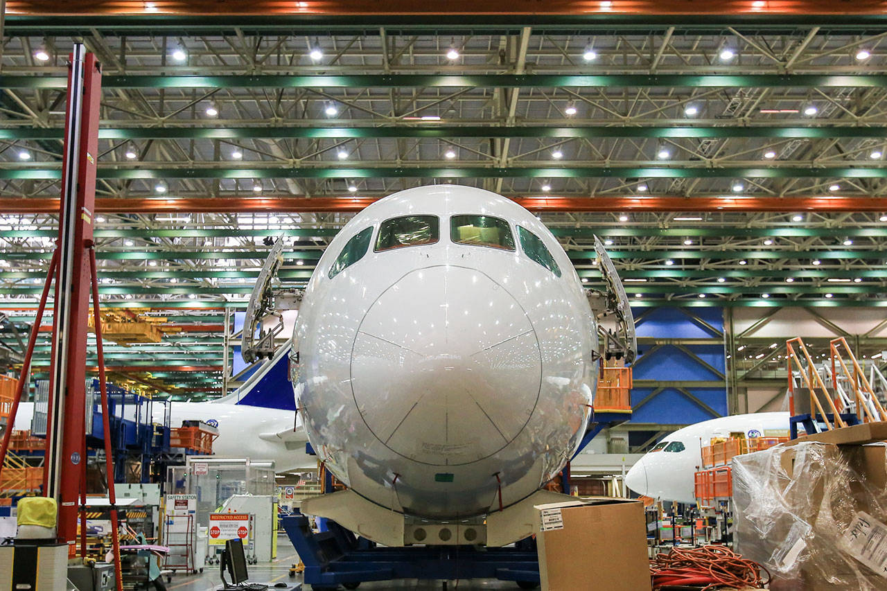 The nose of a 787 Dreamliner is seen at the assembly plant in Everett on Sept. 21, 2016. (Kevin Clark / Herald file)