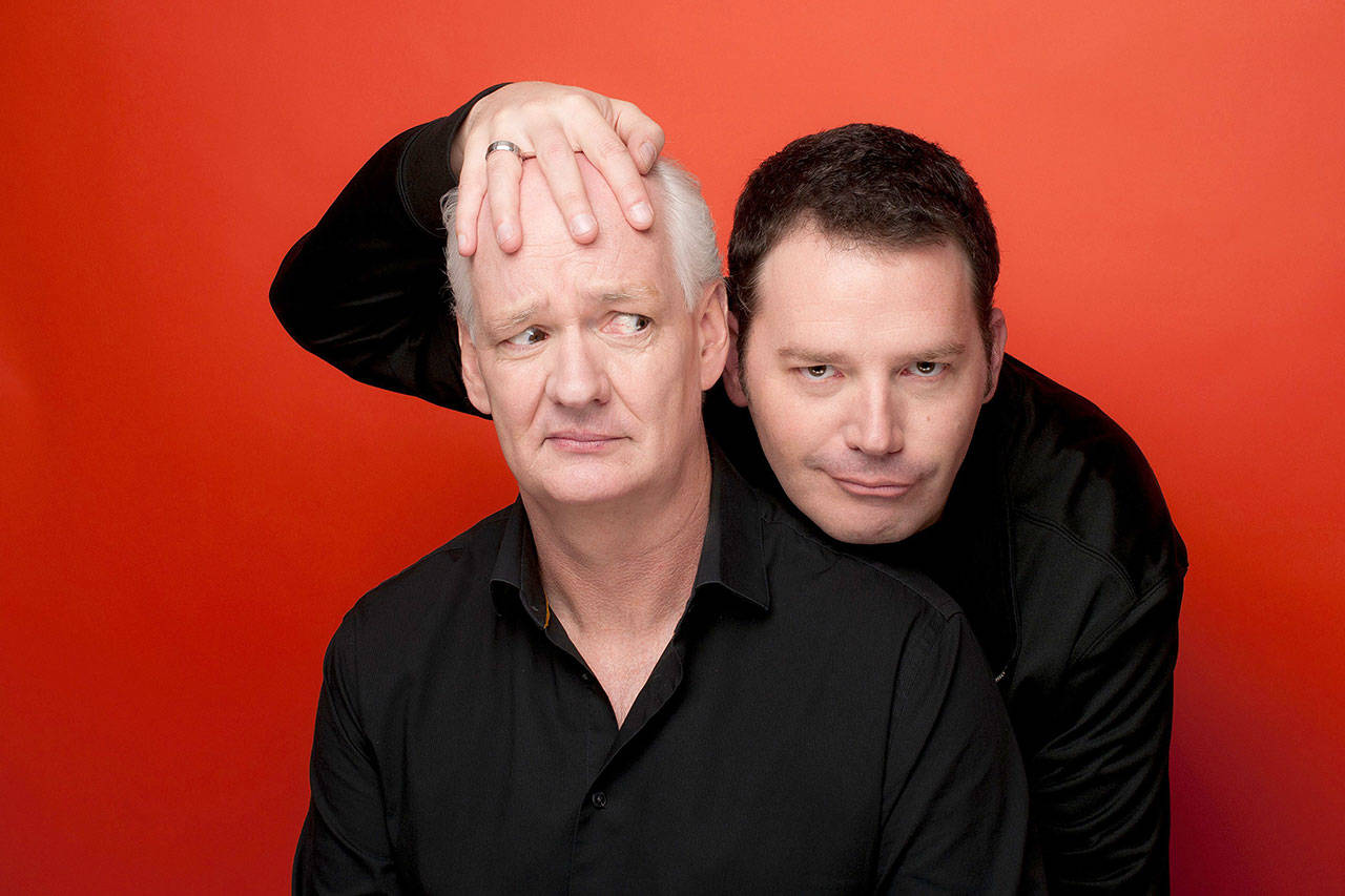 """Colin Mochrie and Brad Sherwood of """"Whose Line Is It Anyway?"""" fame will perform improv in """"Stream of Consciousness"""" via Zoom on June 5. The live-stream show is presented by the Angel of the Winds Arena in Everett. (Jonas Public Relations)"""