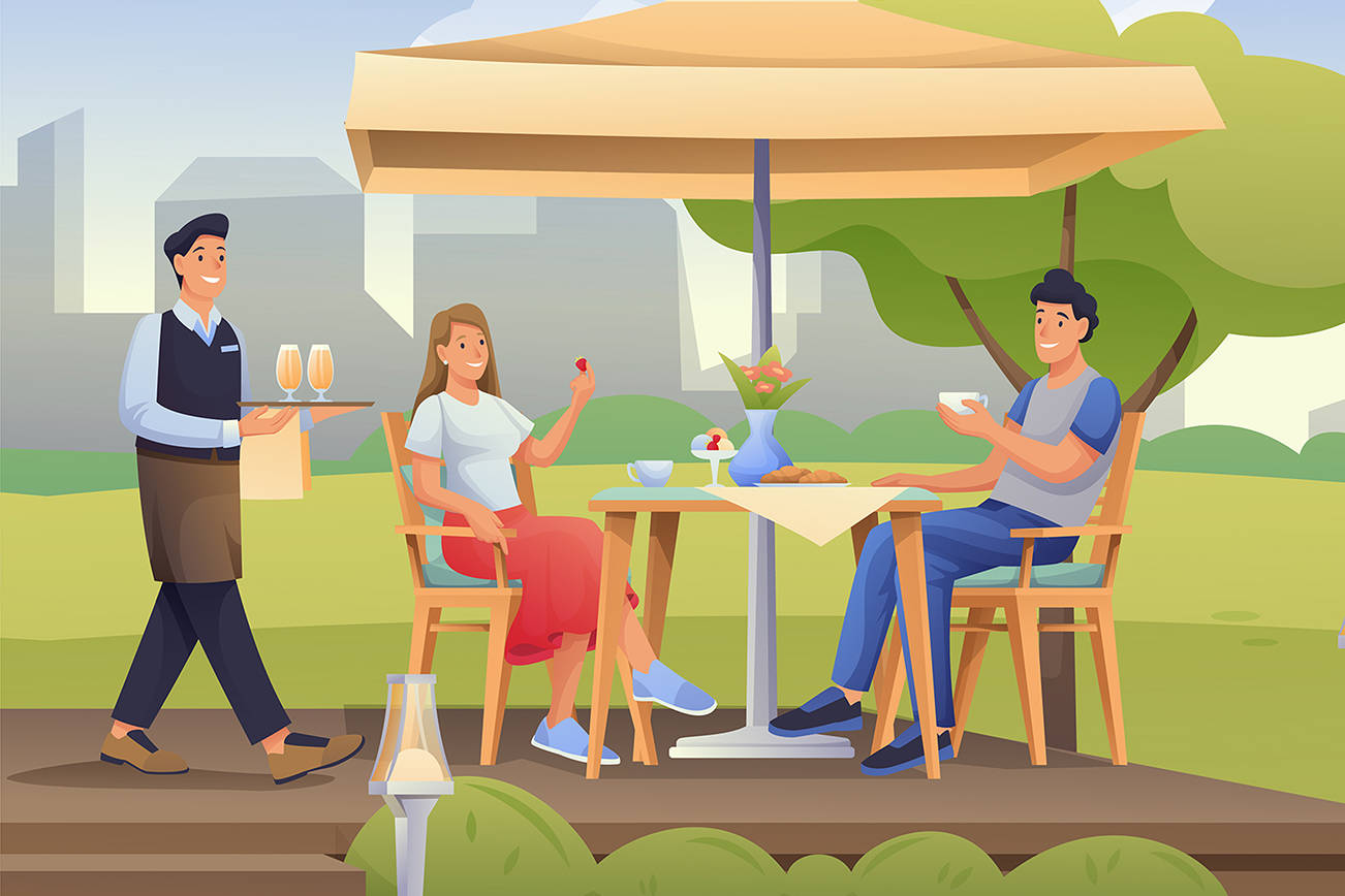 Couple sitting in summer cafe outdoor scene. Restaurant outside with table under umbrella vector illustration. Young man and woman eating and drinking, waiter coming with drinks.