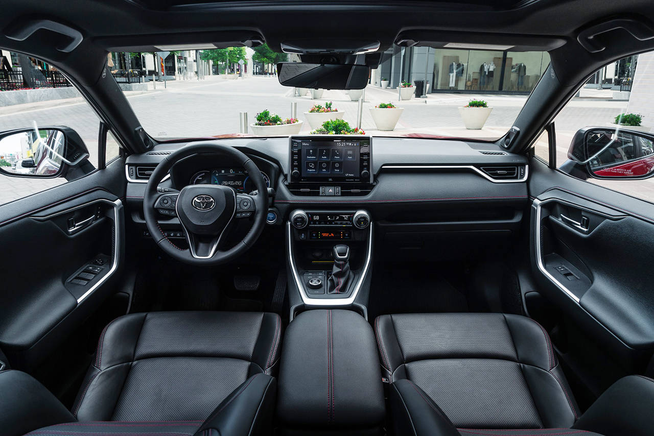 SofTex synthetic leather seats and a 9-inch infotainment touchscreen are special features of the 2021 Toyota RAV4 Prime XSE model. (Manufacturer photo)