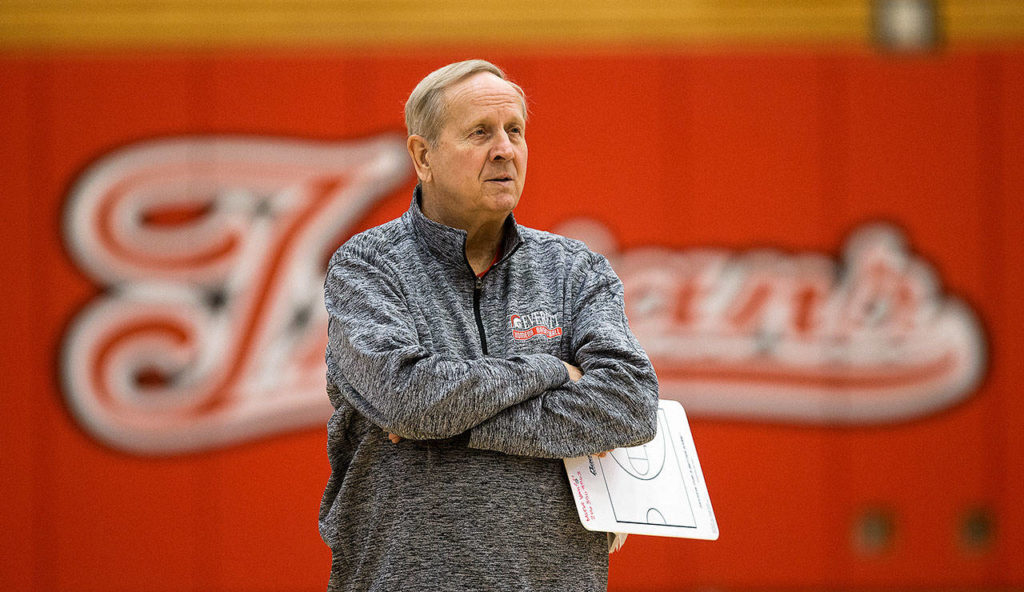 Everett Community College head coach Chet Hovde watches as the women's basketball team practices in 2017 in Everett. (Andy Bronson / The Herald)