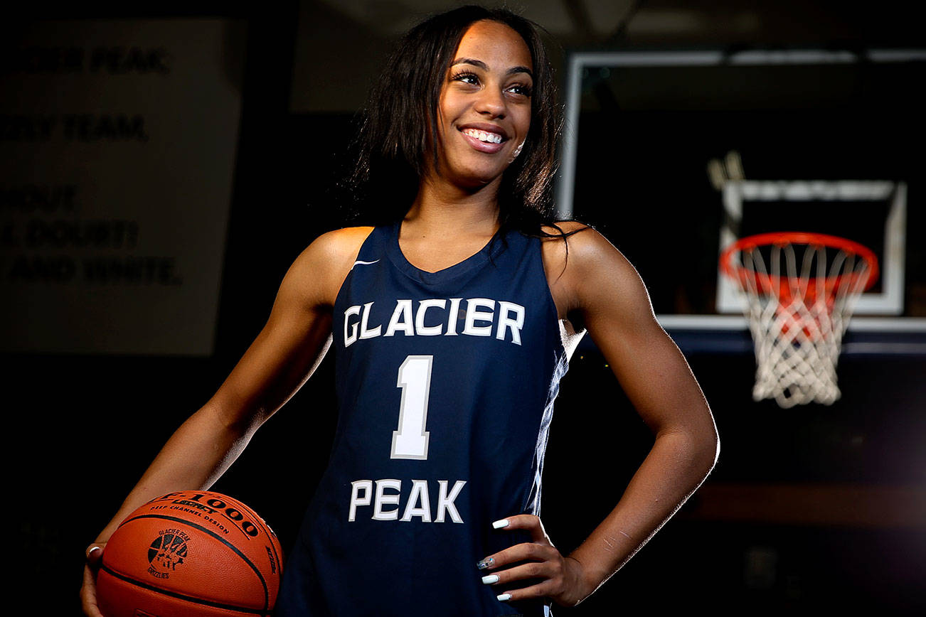 Aaliyah Collins, Glacier Peak senior, averaged 16 points, 4 assists, and 3 steals in the Grizzles undefeated 9-0 season. Collins will attend Chicago State University in the fall and is The Herald's girl basketball Player of the Year. (Kevin Clark / The Herald)