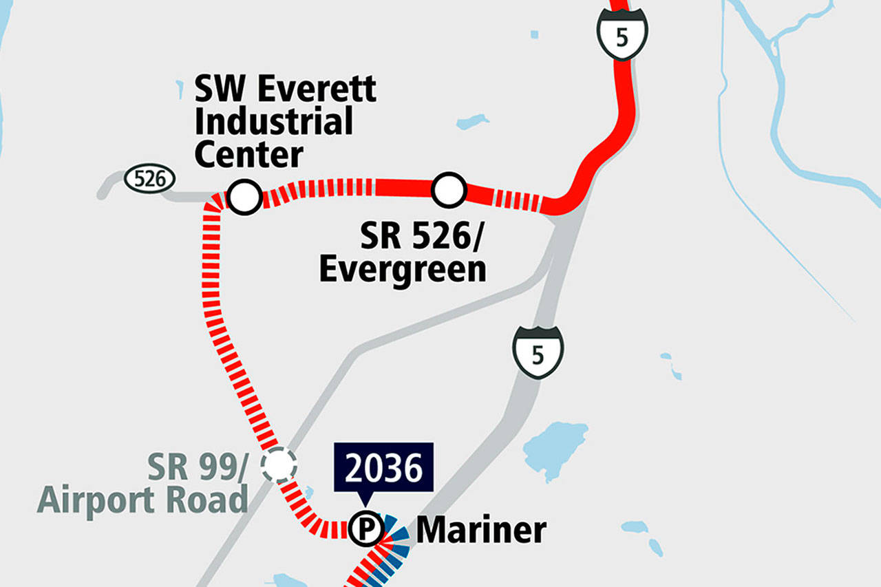 A map detail of Sound Transit's proposed Link light rail route in Everett. The solid red line indicates ground level stretches; thes dashed red line shows elevated portions. (Courtesy of Sound Transit)