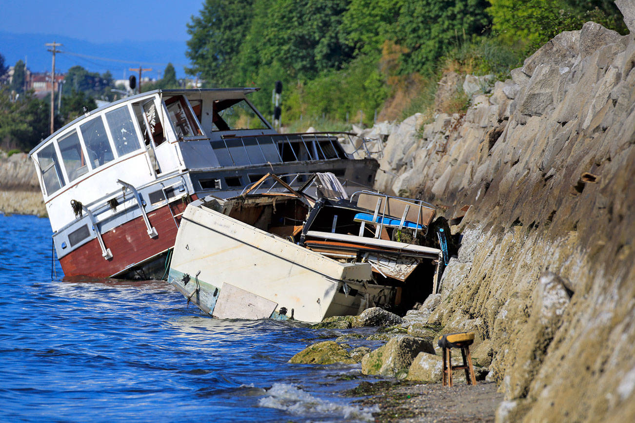 Two boats abandoned bob in the waters Howarth Park in in Everett on July 14, 2021. They have been inspected by Department of Ecology teams to check for oil spills and await removal. (Kevin Clark / The Herald)