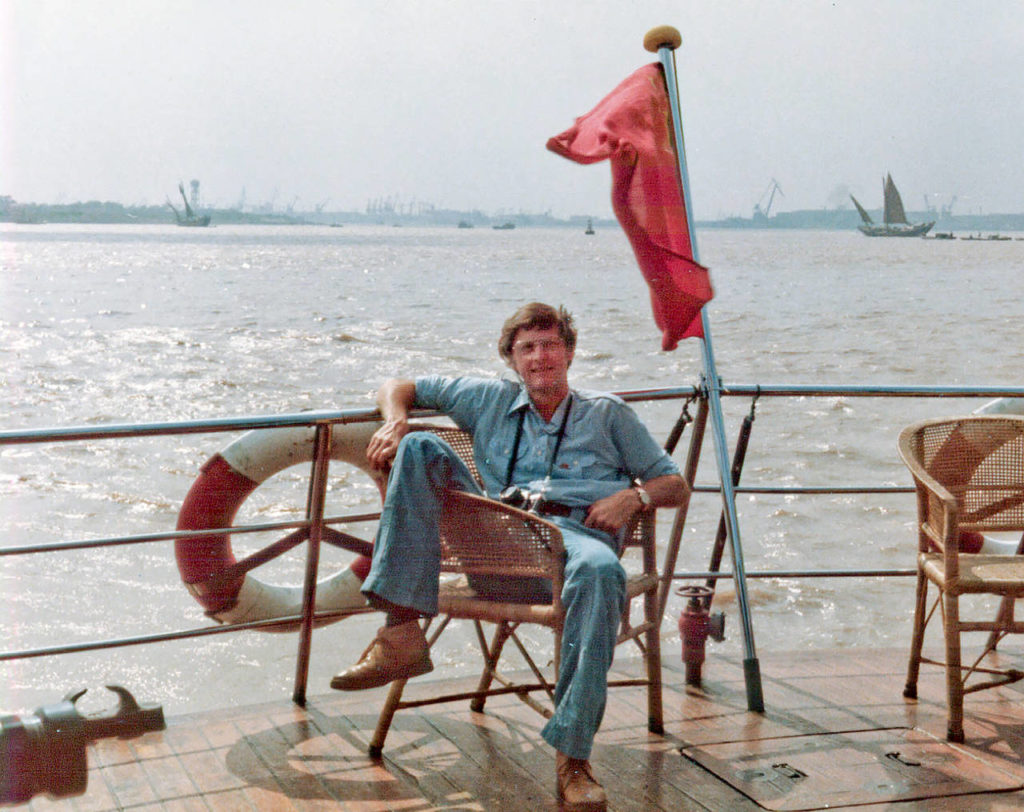 Bob Anderson on a ferry on the Yangtze River during a trip to China, a country he visited often to build cultural and trade relations with. (Courtesy of the Anderson family)
