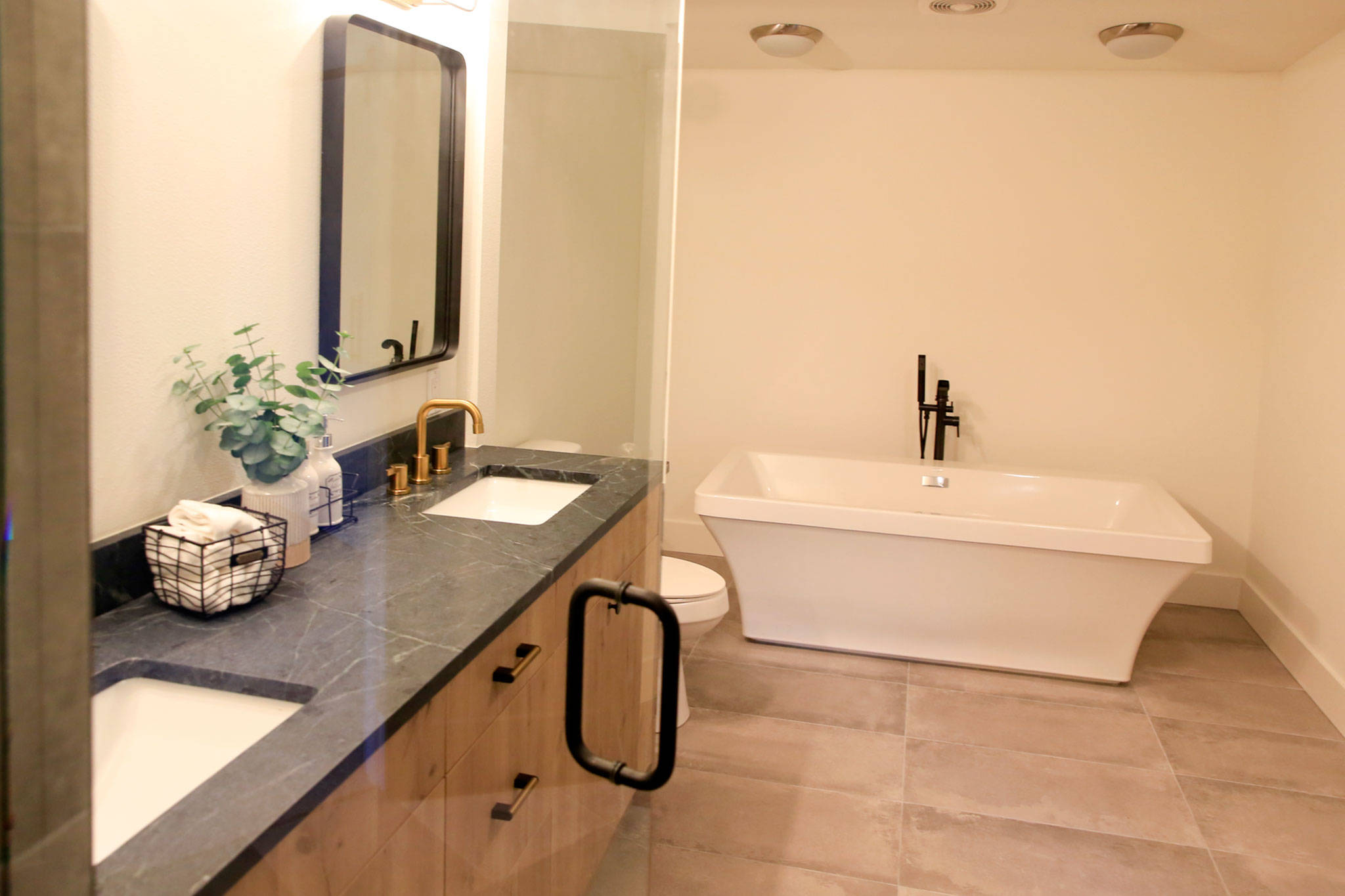 The master bathroom at a listing in Mukilteo. (Kevin Clark / The Herald)