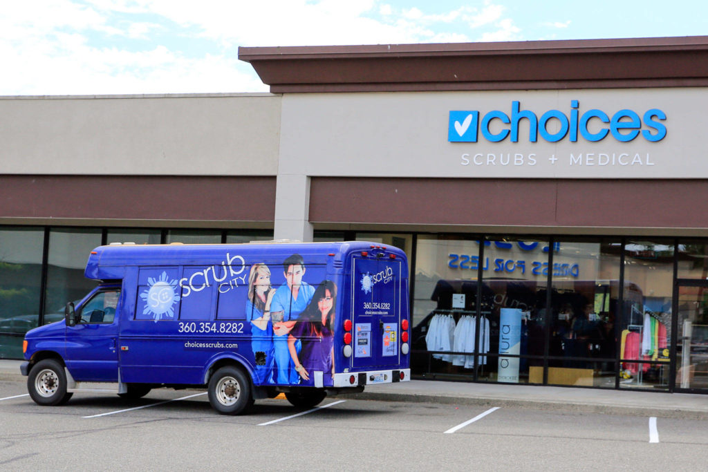Choices Scrubs + Medical in Everett sells medical supplies and scrubs to health care workers and others. (Kevin Clark / The Herald)
