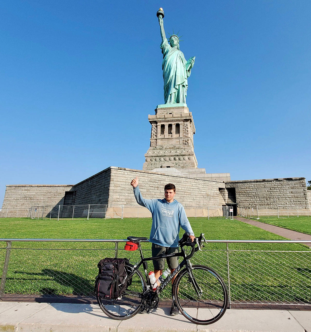 Deven Boyce, 14, rode his bike more than 3,000 miles from the Mukilteo Lighthouse to the Statue of Liberty. (Submitted photo)