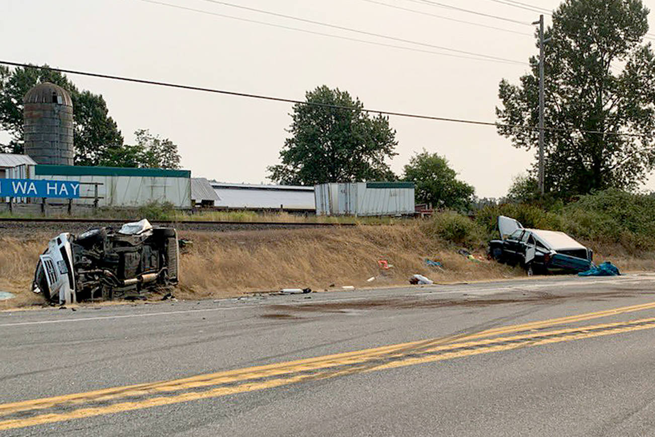 Ten people were injured in a three-vehicle rollover crash Sunday afternoon that closed both directions of U.S. 2. (Washington State Patrol)