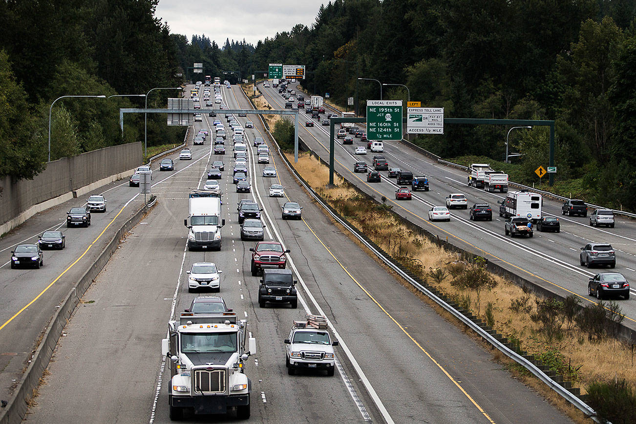 Traffic moves along I-405 between Highway 522 and Highway 527 where WSDOT received the approval to build a second express toll lane on Friday, Aug. 20, 2021 in Bothell, Wash. (Olivia Vanni / The Herald)