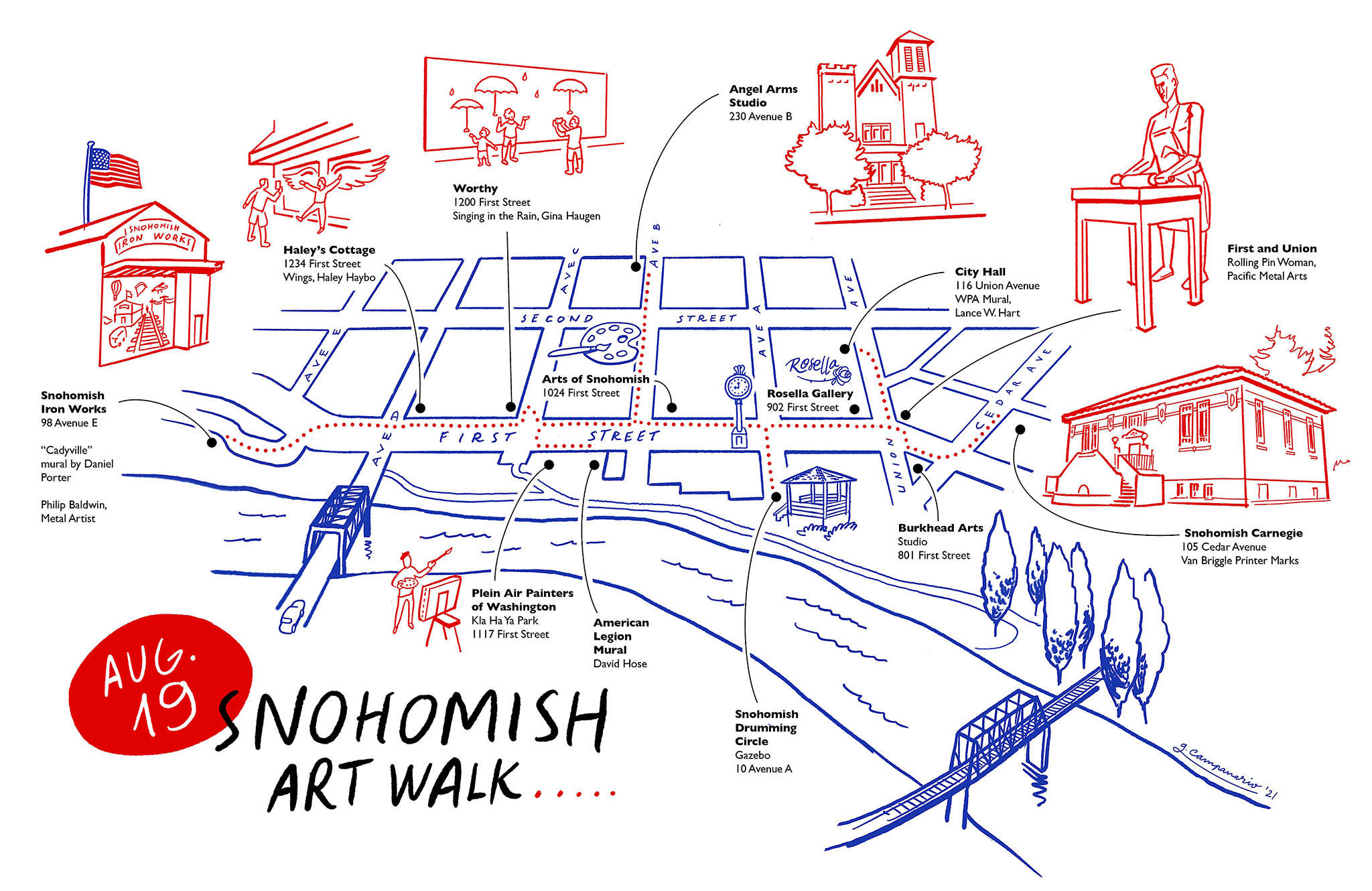 """Gabriel Campanario, who teaches at the Cloud 9 Art School in Maltby, created the Snohomish Art Walk map. His work is regularly seen in The Seattle Times. """"I was looking for a local artist who could set the tone and energy for the art walk. I think he nailed it,"""" art walk organizer Wendy Poischbeg said. (Gabriel Campanario)"""