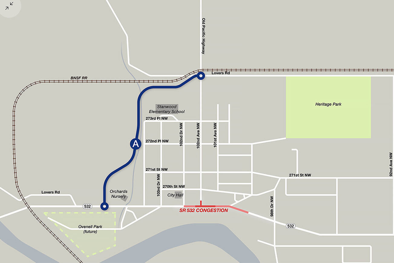 Stanwood city staff think a spur on the west end of town could disburse traffic away from downtown. Corridor A is one idea being considered. (City of Stanwood)